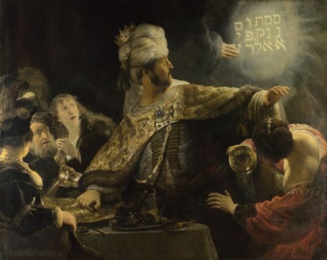 Belshazzars Feast by Rembrandt see bible for the complete historical account
